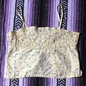 Tops - Pale Yellow Half Ruched Floral Crop Top